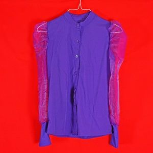 SHEIN Purple Button Up Organza Puff Sleeve Blouse